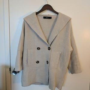 Zara Oversized Hooded Sweater Coat